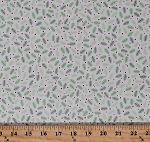Cotton Sprigs and Berries Pine Needles Branches Twigs Festive Holiday Christmas Cheer Patrick Lose White Cotton Fabric Print by the Yard (62488-6470715)