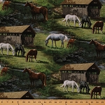 Cotton Scenic Farm Horses Creek Trail Bridge Green Cotton Fabric Print by the Yard (51382-A620715)