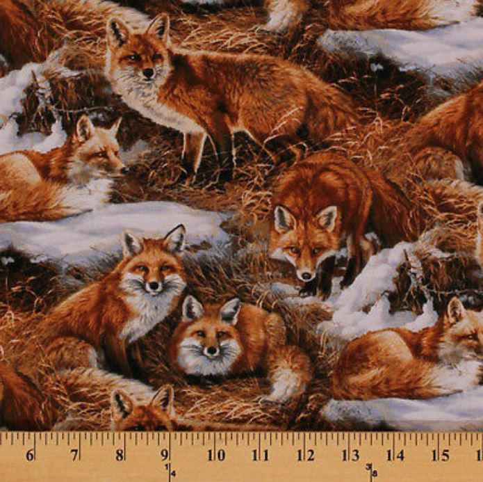 Cotton ww foxcroft fox animal brush cotton fabric print by for Fox print fabric