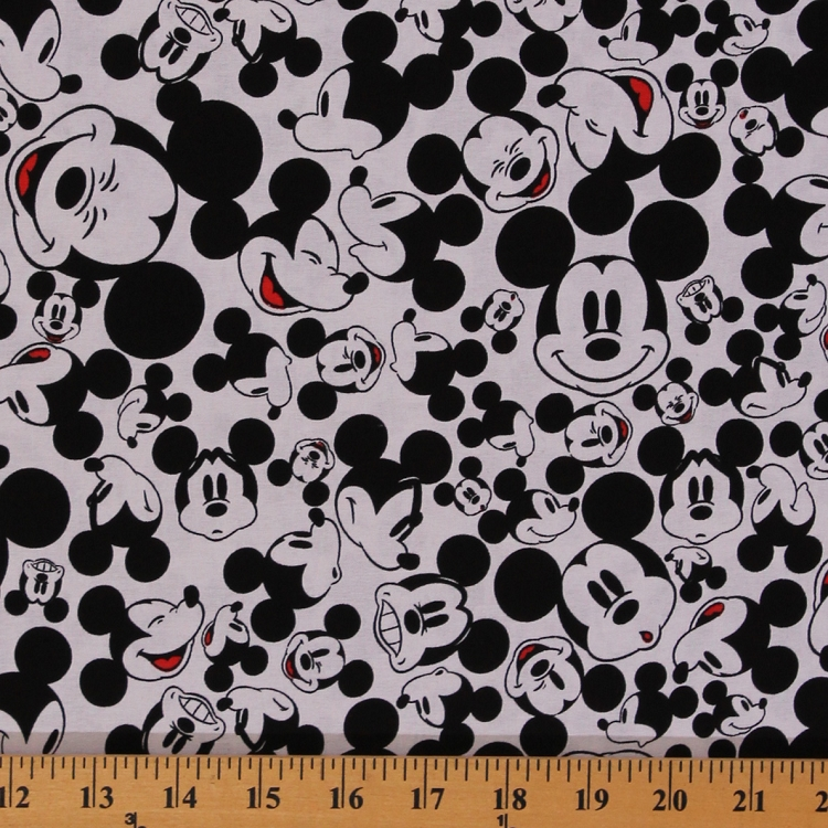 Cotton many faces of mickey mouse disney cartoon cotton for Black and white childrens fabric