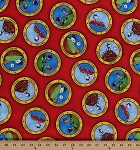 Cotton Peanuts Comic Characters Snoopy Woodstock Marcie Peppermint Patty Camping Activities Circles Kids Red Cotton Fabric Print by the Yard (1649-22612-R)