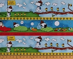 Cotton Peanuts Comic Characters Snoopy Woodstock Camping Campers Kids (8 Parallel Stripes) Cotton Fabric Print by the Yard (1649-22611-BY)