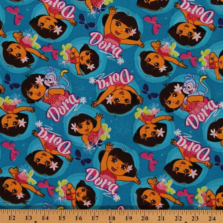 Cotton dancing dora the explorer hawaiian butterflies blue for Childrens cotton fabric by the yard