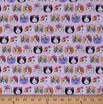 Cotton Cats Cat Faces Heads Animals Flower Crowns Floral Feline Kids Pink Cotton Fabric Print by the Yard (CAT-C6171-PINK)