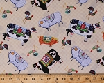 Cotton Jim Shore Village Farm Animals Cows Sheep Roosters Folk Art Cream Checkered Cotton Fabric Print by the Yard (61514-3890715)
