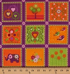Cotton Mystic Forest Elephant Patch Elephants Flowers Floral Blossoms Leaves Hearts Trees Birds Purple Green Orange Squares Cotton Fabric Print by the Yard (112-25921)