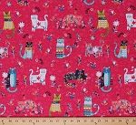 Cotton Cats Kitty Kitties Kittens Flowers Floral Animals Feline Curious Cats on Pink Cotton Fabric Print by the Yard (4123EQ-61436-10)
