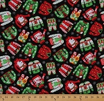 Cotton Christmas Sweaters Vests Snowman Reindeer Nutcrackers Snowflakes on Black Holiday Cotton Fabric Print by the Yard (gail-c4840-merry)