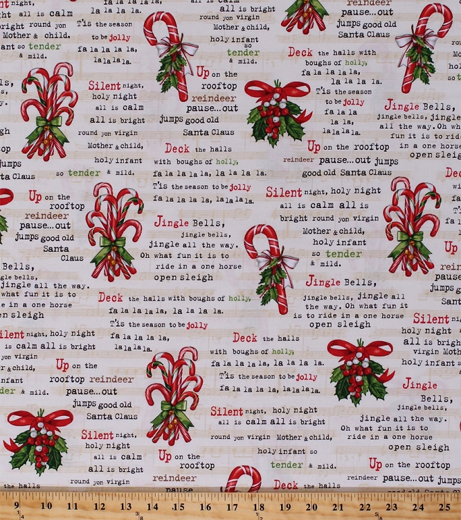 Cotton Christmas Carols Songs Music Lyrics Words Caroling Jingle ...