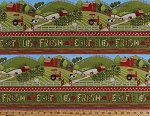 Cotton Farm Fresh Vegetables Veggies Corn Barns Cows Sheep Tractors Rolling Hills Fields Country Farmers Farming (5 Parallel Stripes) Scenic Cotton Fabric Print by the Yard (67472-723s)