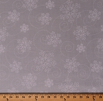 Cotton Snowflakes Snow Swirls on Gray Winter Christmas Holidays Festive Merry And Bright Cotton Fabric Print by the Yard (WW0944)