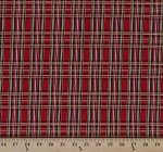 Cotton Holiday Plaid Red Green Metallic Gold Plaid Christmas Cotton Fabric Print by the Yard (holiday-cm3286-red)