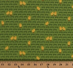 Cotton Yellow Chicks Chickens Peep Words Farm Animals Birds Farmyard Fowl Barnyard Counting Meadow Green Kids Cotton Fabric Print by the Yard (awn-14033-270)