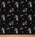 Cotton Realistic Astronauts Space Stations Stars Outer Space Spacewalk Glow-In-The-Dark Cotton Fabric Print by the Yard (9027G-099-BLACK)