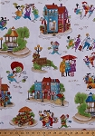 Cotton Quilter Ladies Road Trip Funny Scenes Cafe Hotel Park Benches Gazebo Flowers Street Lamps Seamstress Shopping Shops Stores Pogo Sticks Mopeds Cars Comic-Look Landscape Quilting Sewing Shop Hop Blue Cotton Fabric Print by the Yard (8663-44)