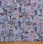 Cotton Europe Landmarks World Monuments Buildings Eiffel Tower Windmill Capitol Cities Travel Dream Vacation Cotton Fabric Print by the Yard (AMF-16193-200-VINTAGE)