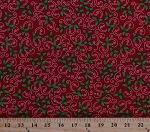 Cotton Holly Leaves Berries Berry Leaf Swirls Christmas Winter Holidays Festive Kringle Krossing Red Cotton Fabric Print by the Yard (6406-88)