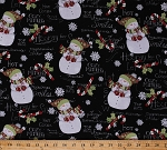 Cotton Snowman Snowmen Hot Cocoa Chocolate Snowflakes Snow Mittens Scarves Hats Candy Canes Holly Winter Holidays Festive Words Let it Snow Hooray For Snow Coordinate Black Cotton Fabric Print by the Yard (54706-1100715)