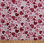 Cotton Pink Hearts on White Northcott Stonehenge™ Sweet Hearts Light Heart Valentine's Day Cotton Fabric Print (39111-25)