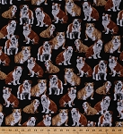 Cotton Bulldog Bulldogs Dogs Puppy Puppies Pets Animals on Black Cotton Fabric Print by the Yard (gm-c4891)