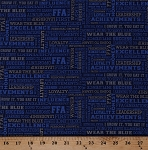 Cotton FFA Forever Blue Agricultural Education Words Quotes Mottos Sayings Future Farmers of America Blue Cotton Fabric Print by the Yard (C7215-BLUE)