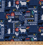 Cotton FFA Future Farmers of America Forever Blue Quotes Motto Agricultural Education Farming Farm Animals Barns Tractors Blue Cotton Fabric Print by the Yard (C7210-BLUE)