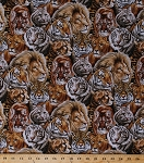 Cotton Big Cats Lions Tigers Pumas Cougars Mountain Lions Wild Animals Cotton Fabric Print by the Yard (7603-black)