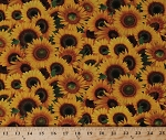 Cotton Sunflower Yellow Sunflowers Blooms Blossoms Flowers Floral Garden Gardening Ladybugs Cotton Fabric Print by the Yard (487-yellow)