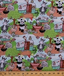 Cotton Zoo Animals Camping Campers Trailers Bikes Bicycles Zebras Panda Bears Elephants Giraffes Owls Picnic Summer Vacation Bazooples Campout Scenic Kids Cotton Fabric Print by the Yard (62947-A20715)