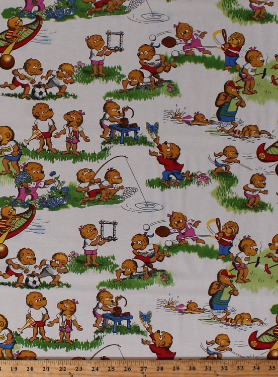 Cotton the berenstain bears fishing baseball soccer for Childrens cotton fabric by the yard