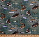 Cotton Top Rod Fishing Catfish Trout Freshwater Fish Swimming Underwater Water River Rocks Stones Green Cotton Fabric Print by the Yard (470-green)