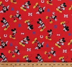 Cotton Disney Mickey Mouse Letters Toss on Red Kids Cartoons Cotton Fabric Print by the Yard (63315-D650715)