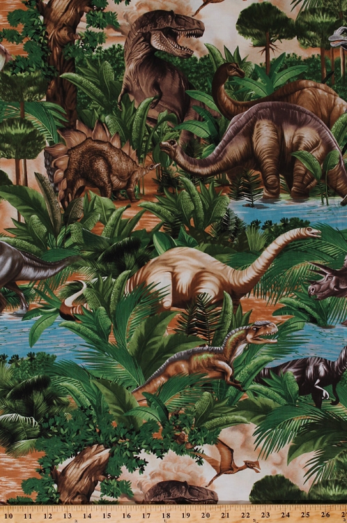 Cotton dinosaurs dinosaur dino t rex pterodactyl for Childrens jungle print fabric