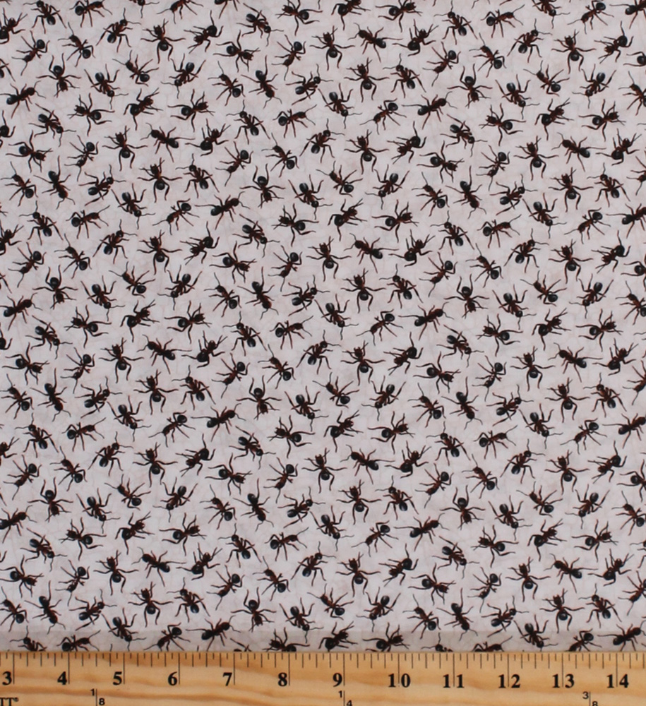Cotton ants insects bugs on white nature boys kids you bug for Childrens cotton fabric by the yard