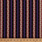 Cotton Dutch Middleburg Floral Stripes Flowers Vines Buds Leaves Holland Netherlands Striped Red Purple Black Middelburg Cotton Fabric Print by the Yard (1649-22269-J)