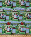 Cotton Jim Shore Village Farm Houses Hills Folk Art Scenic Cotton Fabric Print by the Yard (16018-green)