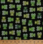 Cotton Urban Zoologie Cute Green Frogs on Black Cotton Fabric Print by the Yard (aak-14724-2)