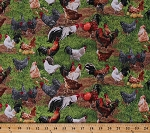 Cotton Farm Animals Chickens Roosters Hens Chicks Eggs Barnyard Fowl Birds Grass Scenic Farmyard Farming Country Cotton Fabric Print by the Yard (354-green)