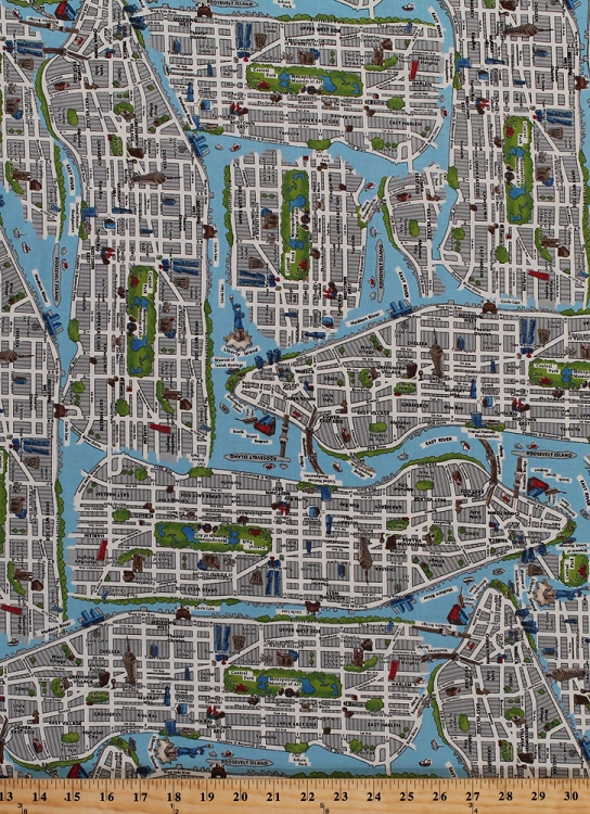 Cotton New York City Map NYC Streets Central Park East Harlem - Map of new york city streets