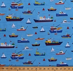 Cotton Boats Sailboats Rowboats Cruise Ships Water Transportation Kids Blue Nautical Cotton Fabric Print by the Yard (FUN-C6066-BLUE)