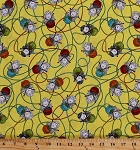 Cotton Sheep Knitting Yarn Balls Knitting Needles Knitters Lambs Animals on Yellow Knit Happy Cotton Fabric Print by the Yard (1075-44)
