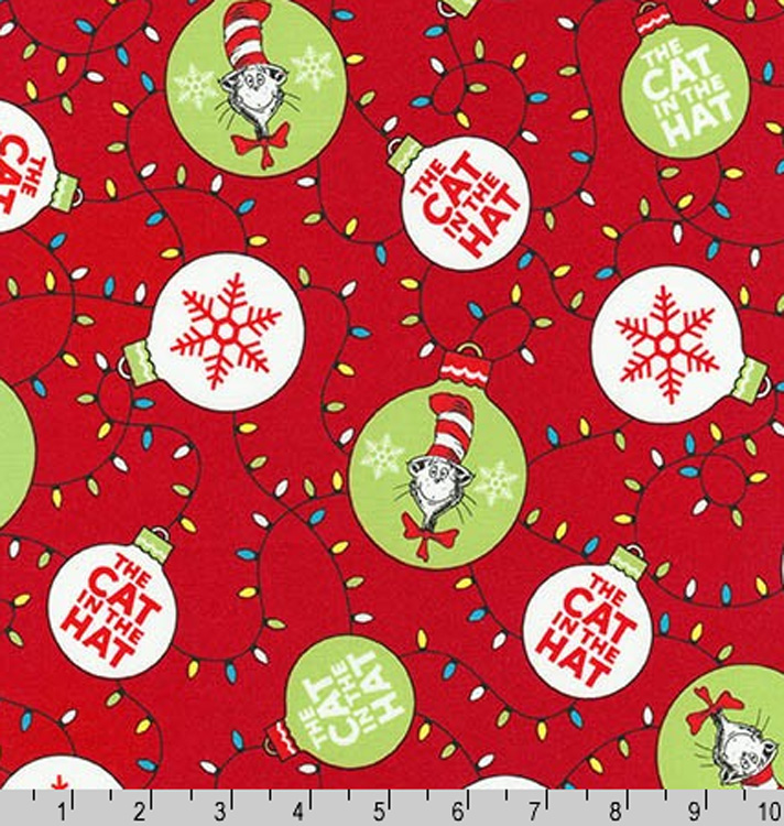 Cotton the cat in the hat christmas lights ornaments for Childrens cotton fabric by the yard