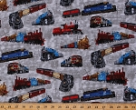 Cotton Trains on Taupe Cargo Cars Engine Caboose Railroad Crossing Signs Railway Railcar Coaches Freight Locomotives Transportation Travel A Ticket To Ride Cotton Fabric Print by Yard (4104EQ-60239-8)