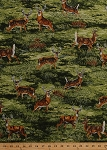 Cotton Bringing Nature Home White-Tailed Deer Bucks Wildlife Animals Scenic Cotton Fabric Print by the Yard (aax-15211-268-nature)