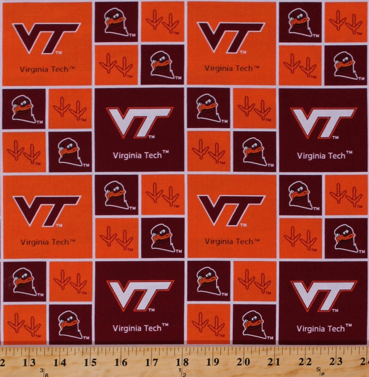 cotton virginia va tech hokies university college cotton fabric print by the yard svt020s. Black Bedroom Furniture Sets. Home Design Ideas