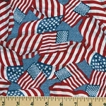USA Flag Stars & Stripes Flags Waving on Blue Cotton Fabric Print by the Yard (2933m-1j)