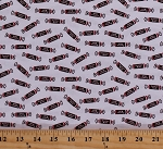 Cotton Tootsie Rolls on White Candy Candies Food Sweets Treats It's Tootsie Roll Time Cotton Fabric Print by the Yard (C6815-WHITE)