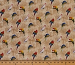 Cotton Rainforest Parrots on Beige Floral Cotton Fabric Print by the Yard (41937-1)