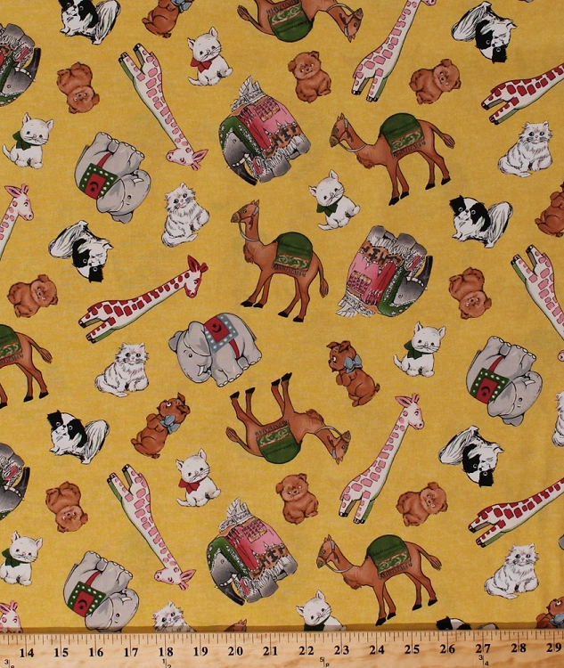Cotton toys animals cats dogs elephants giraffes camels for Animal print fabric for kids