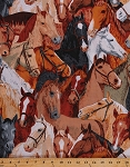 Horse Portraits Packed Bridled Horses Halters Riding Gear Equestrian Animals Cotton Fabric Print by the Yard (8956M-12H)